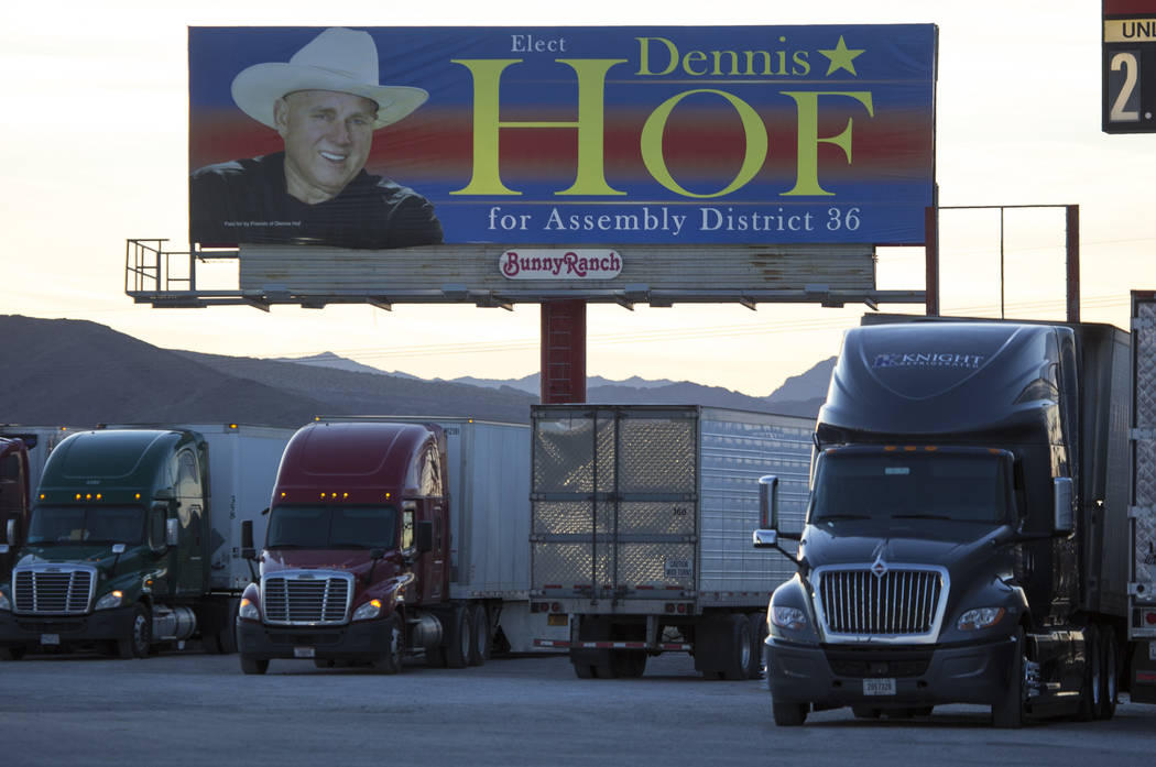 A campaign billboard for Dennis Hof in the parking lot of the Area 51 Alien Center in Amargosa Valley, Nevada, about 90 miles north of Las Vegas, Friday, April 6, 2018. Richard Brian Las Vegas Rev ...