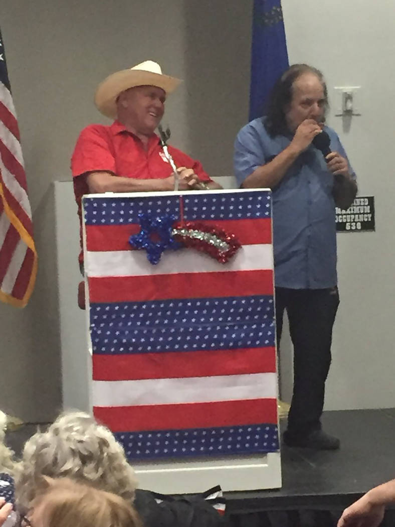 """Twitter photo/courtesy Chuck Muth Adult film star Ron Jeremy (left) provides entertainment playing """"Happy Birthday"""" to Dennis Hof on the harmonica on Monday in Pahrump. Hof turned 72 a day prior, ..."""