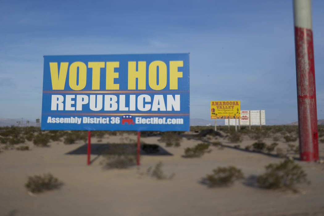 A campaign billboard for Dennis Hof near the parking lot of the Area 51 Alien Center in Amargosa Valley, Nevada, about 90 miles north of Las Vegas, Friday, April 6, 2018. Richard Brian Las Vegas R ...