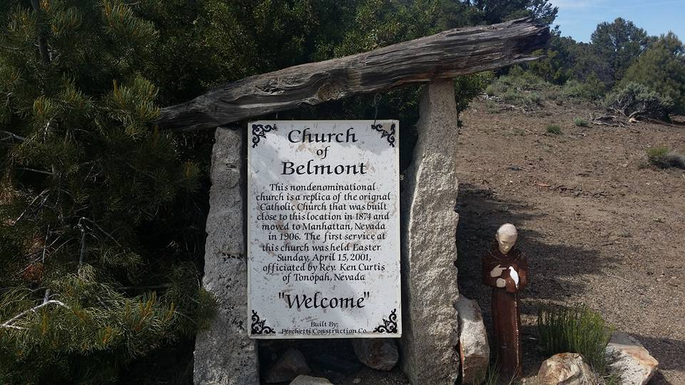 David Jacobs/Pahrump Valley Times A plaque sits adjacent to a nondenominational church in Belmont, Nevada. The current church, which had its first service in 2001, is a replica of a Catholic churc ...