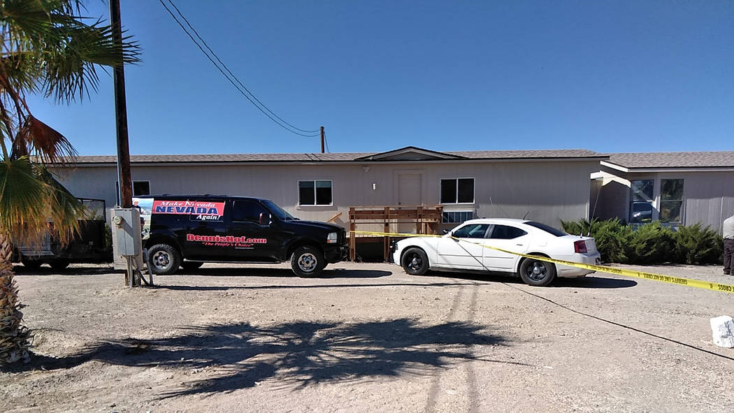 Selwyn Harris/Pahrump Valley Times Yellow tape cordons off the Love Ranch suite where the body of District 36 Assembly candidate and brothel owner Dennis Hof was discovered late Tuesday morning Oc ...