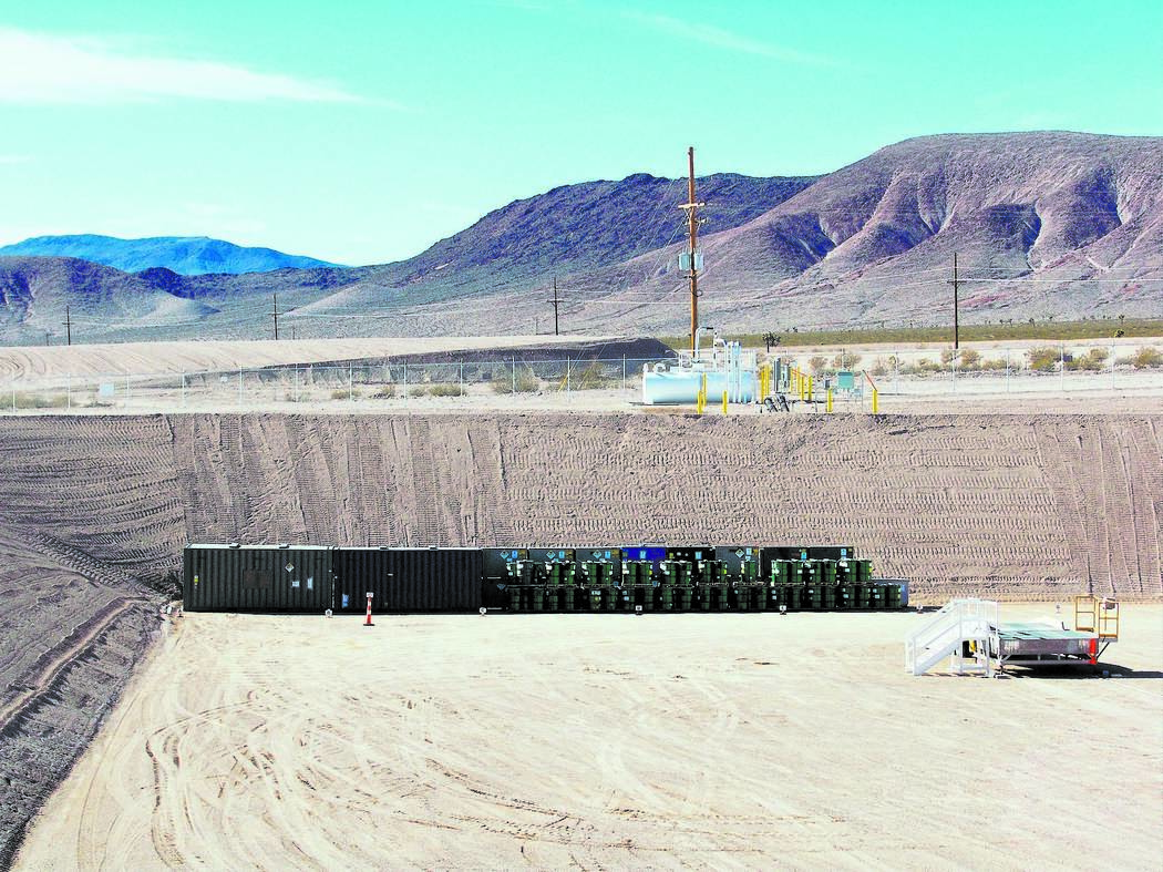 Waste packages are shown at the end of landfill cell in Area 5 at the Nevada National Security Site, 65 miles northwest of Las Vegas in this undated photo. (Photo courtesy Department of Energy)