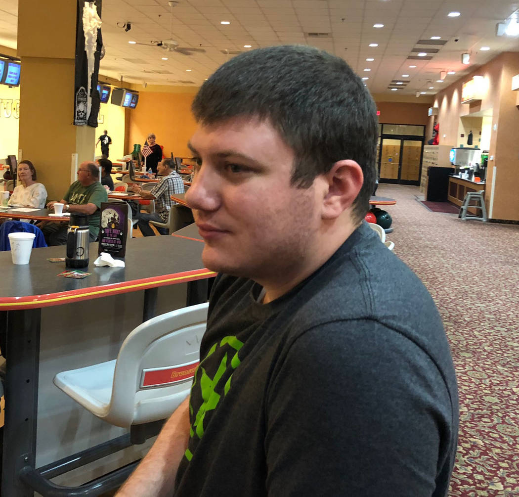 Tom Rysinski/Pahrump Valley Times Pahrump resident Zahn Bouder, 24, discusses his 300 game Wednesday morning at the Pahrump Nugget Bowling Center.