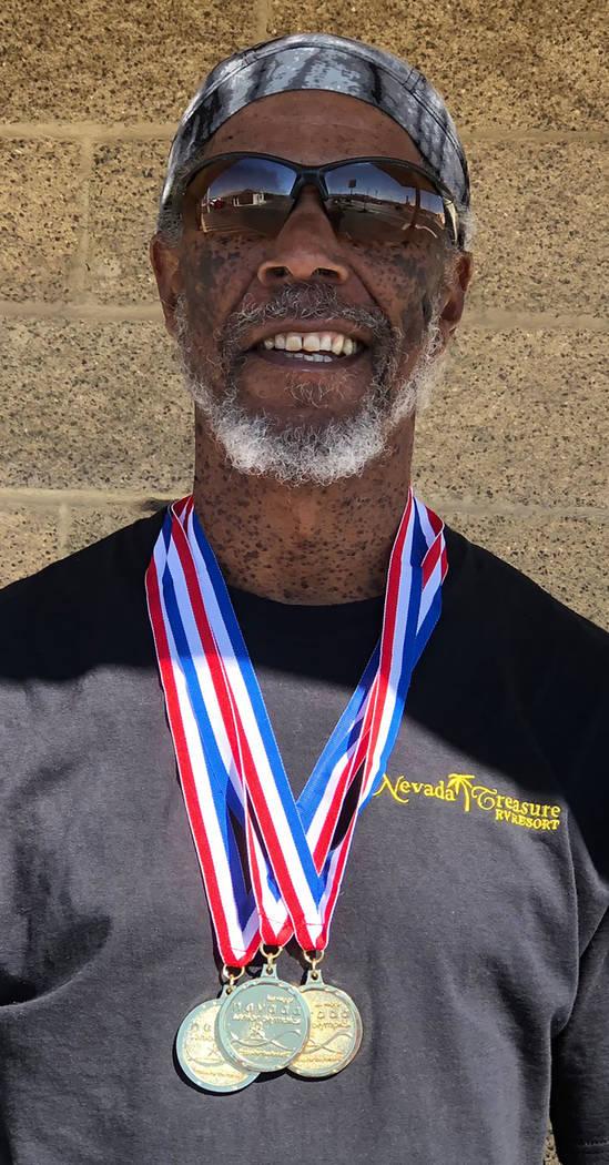 Tom Rysinski/Pahrump Valley Times Marvin Caperton of Pahrump won the 50 meters, 100 meters and 200 meters at the Nevada Senior Games on Oct. 12-14 at UNLV's Myron Partridge Stadium.