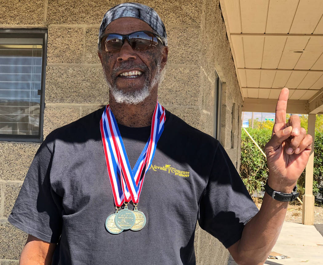 Tom Rysinski/Pahrump Valley Times Marvin Caperton won three more gold medals in the sprints at the Nevada Senior Games and has qualified for the National Senior Games next June in Albuquerque, New ...