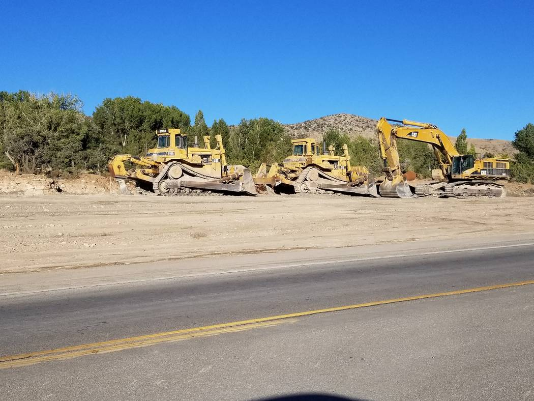 David Jacobs/Pahrump Valley Times Crews work along Highway 160 in the Mountain Springs area on Sept. 5, 2018. The road is being widened from two to four lanes, among other work.