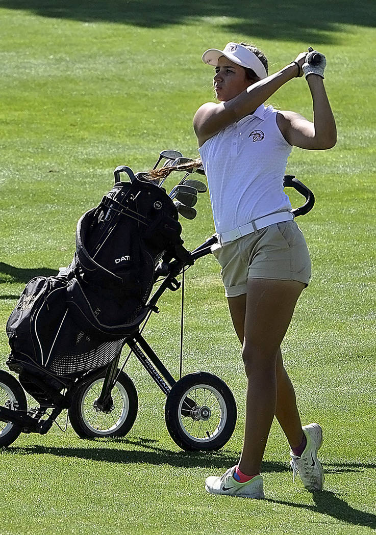 Horace Langford Jr./Pahrump Valley Times Senior Jessica Pearson finished 12th with a score of 193 to help Pahrump Valley to a second-place finish at the Class 3A state girls golf championships in ...