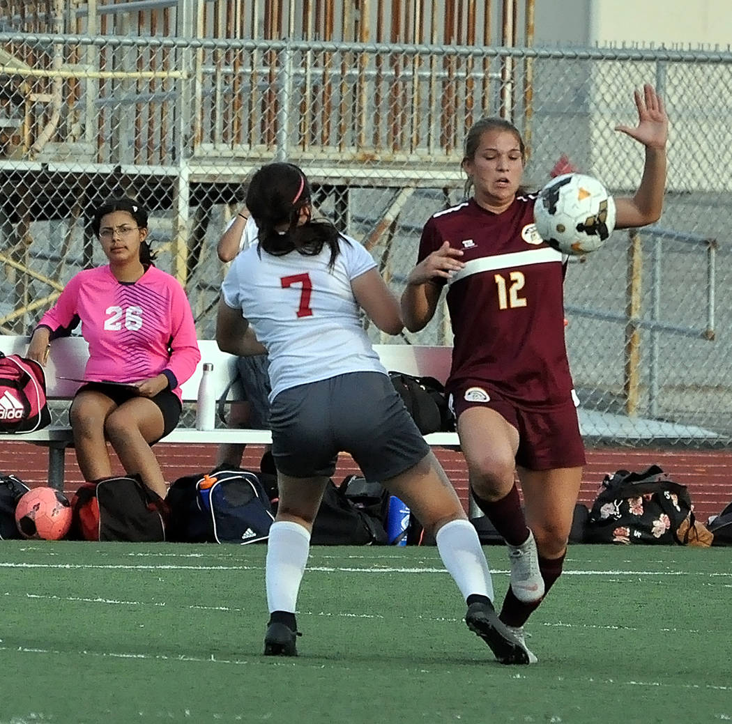 Horace Langford Jr./Pahrump Valley Times Sophomore Madelyn Souza, right, battles for possession against Del Sol during Pahrump Valley's 6-0 victory Oct. 1 in Pahrump.