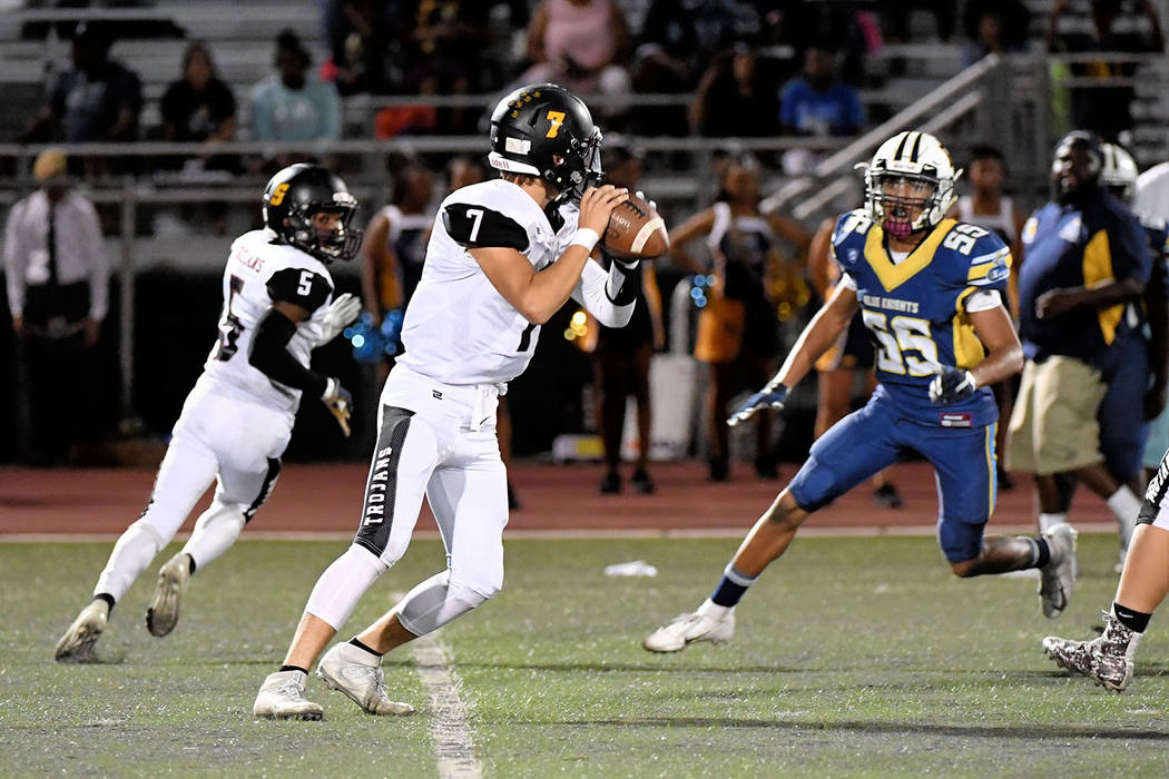Peter Davis/Special to the Pahrump Valley Times Dylan Wright prepares to throw to Casey Flennory during a game against Democracy Prep. Wright completed his only pass Friday night for a 60-yard tou ...