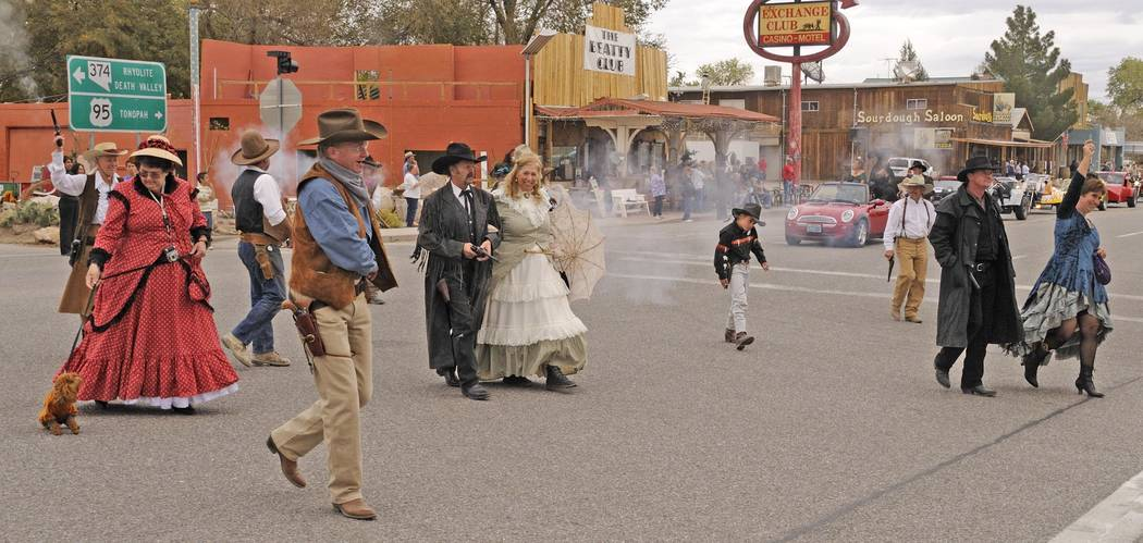 Richard Stephens/Special to the Pahrump Valley Times Beatty Cowboys and Floozies perform in Beatty Days parade as shown in a file photo.
