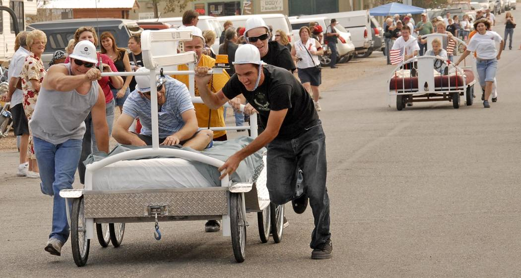 Richard Stephens/Special to the Pahrump Valley Times A look at the bed races event at a prior Beatty Days. Later this week, 2018 Beatty Days starts in the community.
