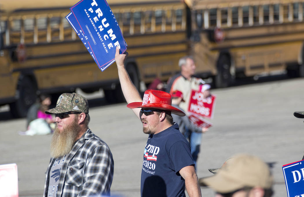Supporters arrive for a Make America Great Again Rally with President Donald Trump in Elko, Nev., on Saturday, Oct. 20, 2018. Richard Brian Las Vegas Review-Journal @vegasphotograph