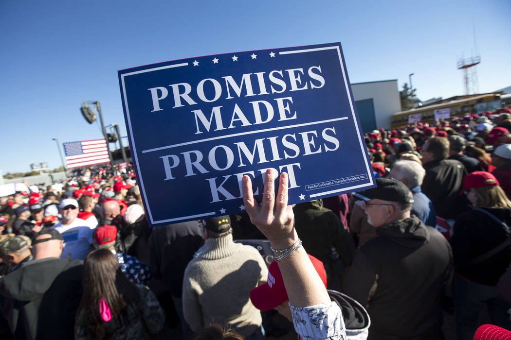 Supporters attend a Make America Great Again Rally with President Donald Trump in Elko, Nev., on Saturday, Oct. 20, 2018. Richard Brian Las Vegas Review-Journal @vegasphotograph