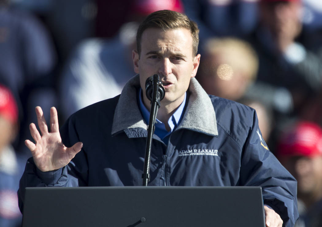 Republican gubernatorial candidate Adam Laxalt speaks at President Donald Trump's Make America Great Again Rally in Elko, Nev., on Saturday, Oct. 20, 2018. Richard Brian Las Vegas Review-Journal @ ...