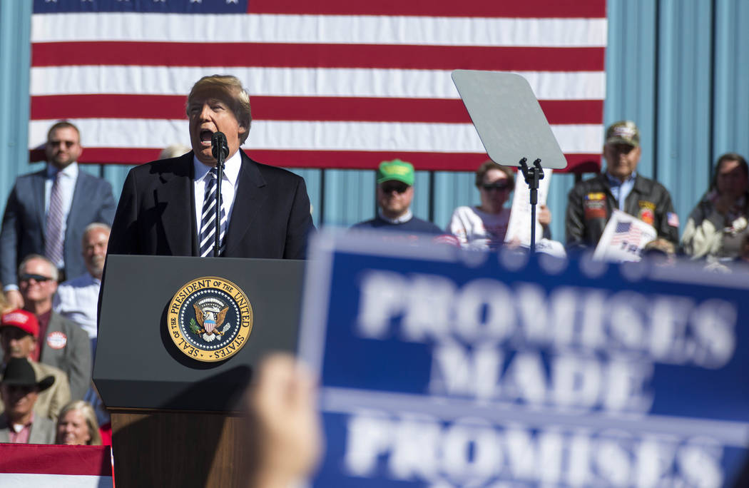 President Donald Trump speaks during a Make America Great Again Rally in Elko, Nev., on Saturday, Oct. 20, 2018. Richard Brian Las Vegas Review-Journal @vegasphotograph