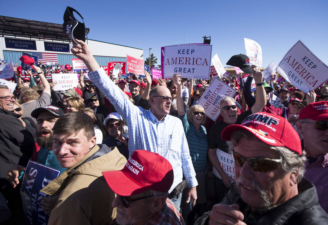 People yell toward members of the media during President Donald Trump's Make America Great Again Rally in Elko, Nev., on Saturday, Oct. 20, 2018. Richard Brian Las Vegas Review-Journal @vegasphoto ...