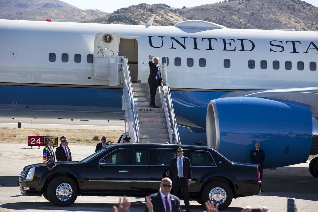 President Donald Trump boards Air Force One after a Make America Great Again Rally in Elko, Nev., on Saturday, Oct. 20, 2018. Richard Brian Las Vegas Review-Journal @vegasphotograph