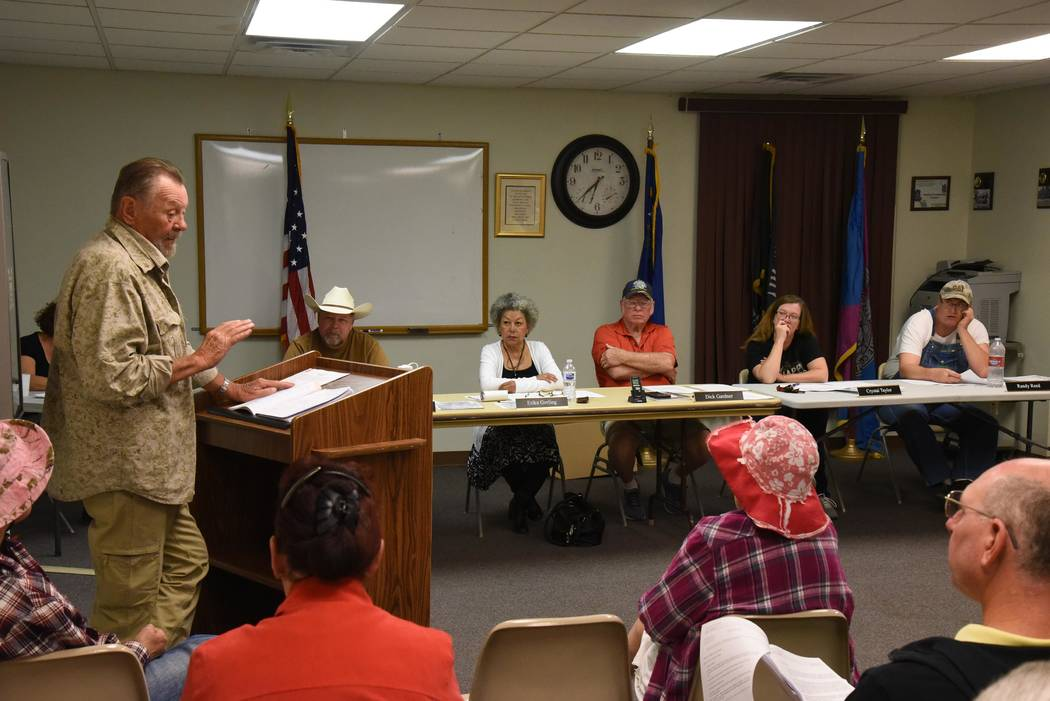 Richard Stephens/Special to the Pahrump Valley Times Karl Olson addressing the board with town board members (left to right) Kelly Carroll, Erika Gerling, Dick Gardner, Crystal Taylor and Randy Re ...