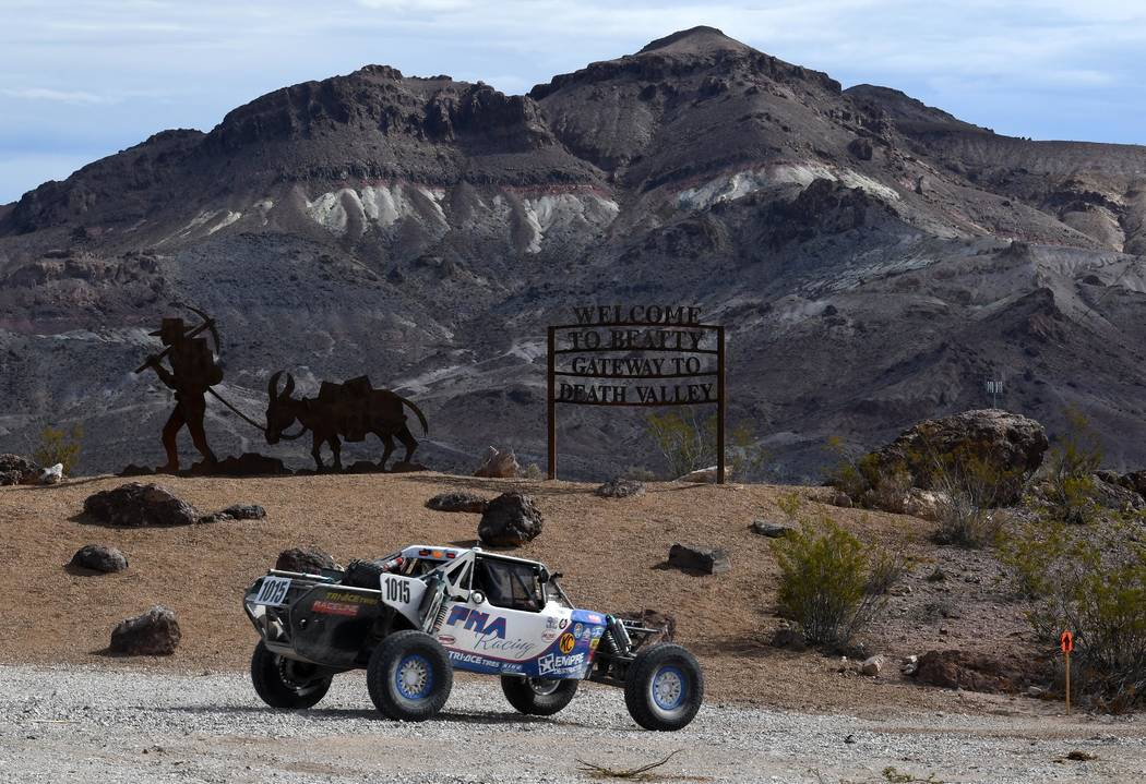 Richard Stephens/Special to the Pahrump Valley Times A vehicle moves its way around the Beatty area in the recent S.N.O.R.E. 250.