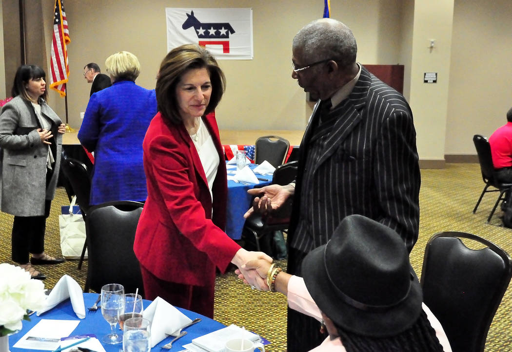 Catherine Cortez Masto, former Nevada attorney general and current U.S. Senator, was keynote speaker at the Nye County Democrats' Roosevelt-Kennedy Dinner in 2016. She is shown greeting locals in ...