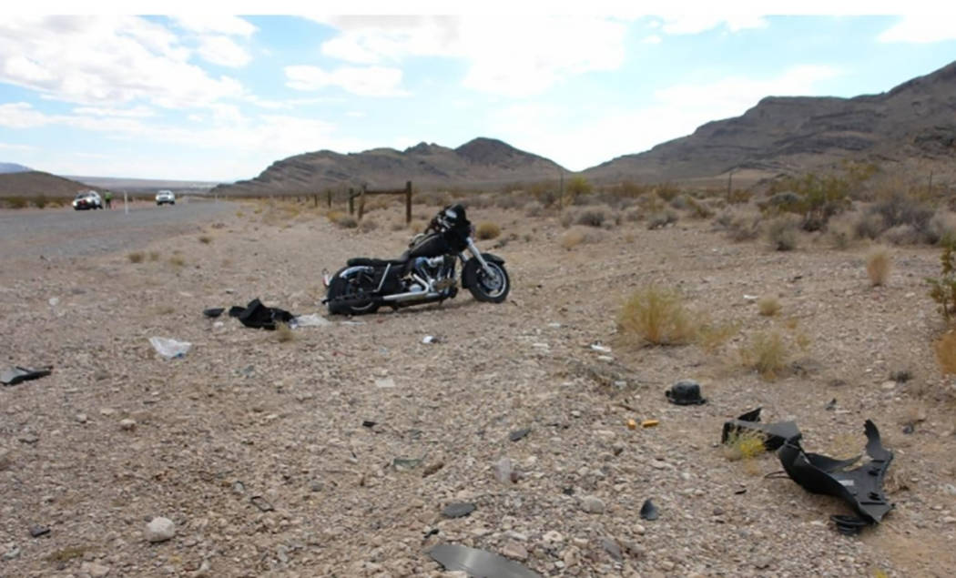Special to the Pahrump Valley Times Nevada Highway Patrol is investigating a motorcycle crash along Highway 160 near mile marker 22 in Nye County on Saturday Oct. 20. An unidentified adult male ri ...