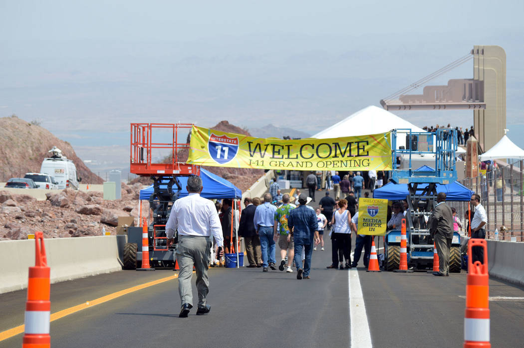 Celia Shortt Goodyear/Boulder City Review Hundreds people attended the grand opening ceremony for Interstate 11 on Aug. 9. It took place at a scenic overlook on the highway.