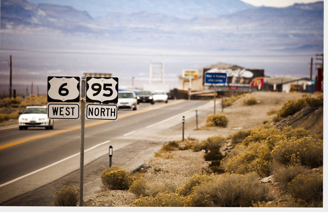 Jeff Scheid/Las Vegas Review-Journal U.S. Highway 95 traffic enters Tonopah. The future Interstate 11 could eventually run along parts of Highway 95 from Las Vegas before heading to Tonopah and up ...