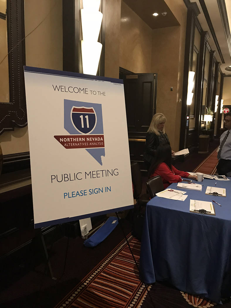 Jeffrey Meehan/Pahrump Valley Times Nevada Department of Transportation officials hold a meeting on March 20, 2018 on the northern portion of Interstate 11, which includes Tonopah, Beatty and Indi ...
