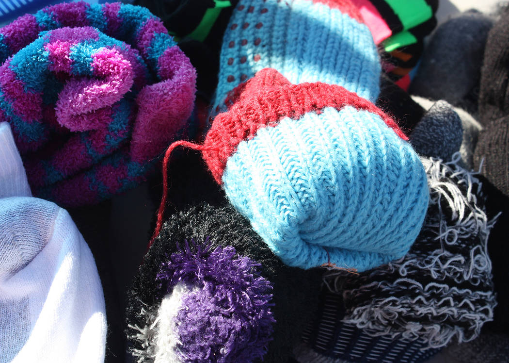 Robin Hebrock/Pahrump Valley Times Warm, fluffy socks in a huge array of colors and styles were available during the Veterans Stand Down.