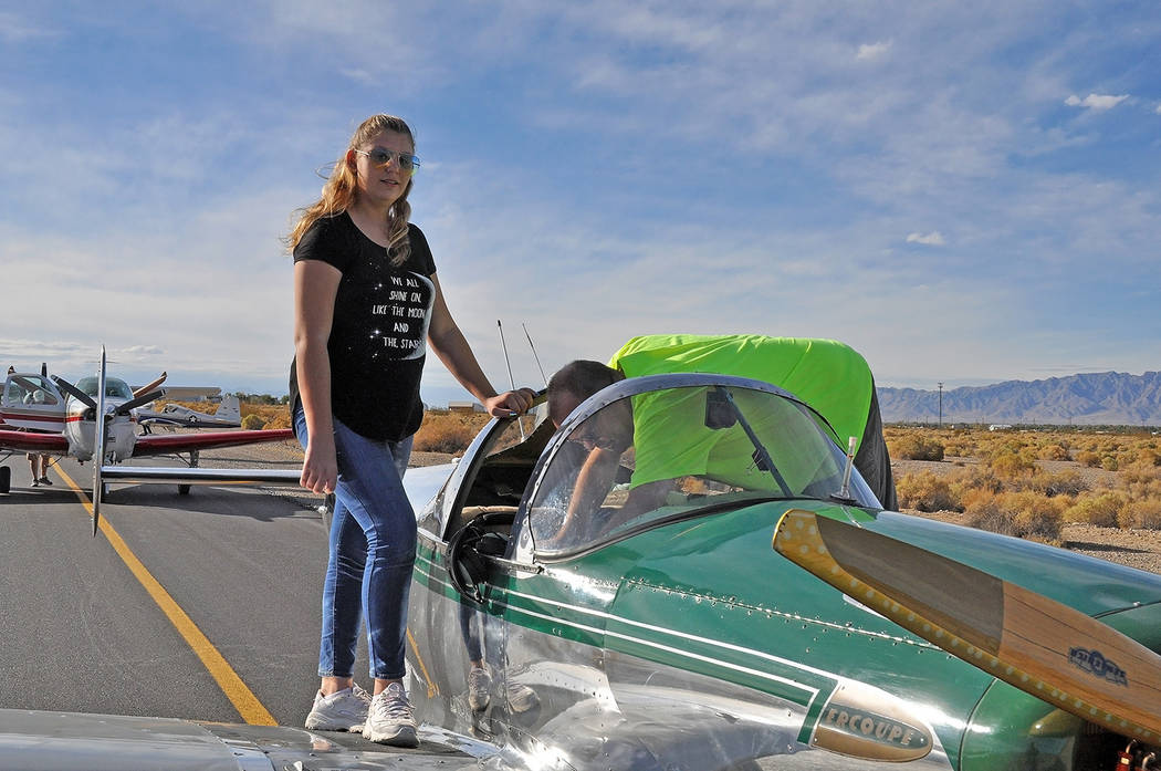 Horace Langford Jr./Pahrump Valley Times - Rory Rowsell prepares for her flight. Rory was participating in the Young Eagles rally for the fourth year.