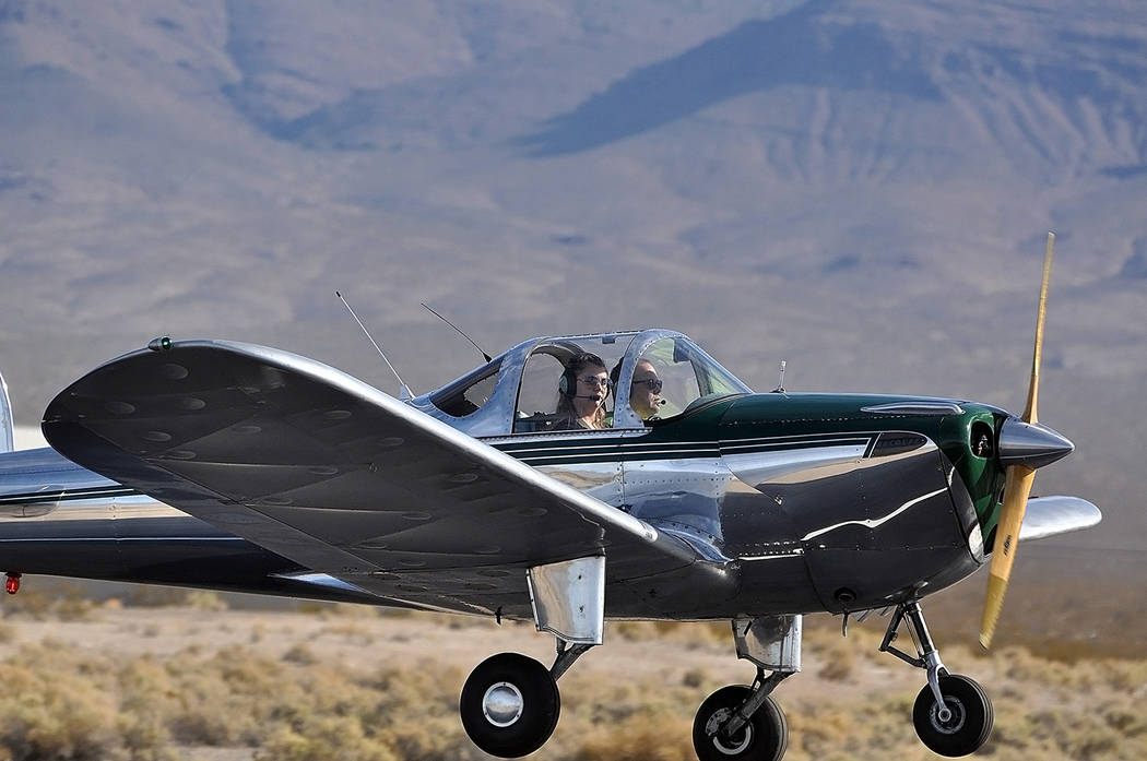 Horace Langford Jr./Pahrump Valley Times - Rory Rowsell and pilot Randy Holland touch down at the conclusion of their flight.