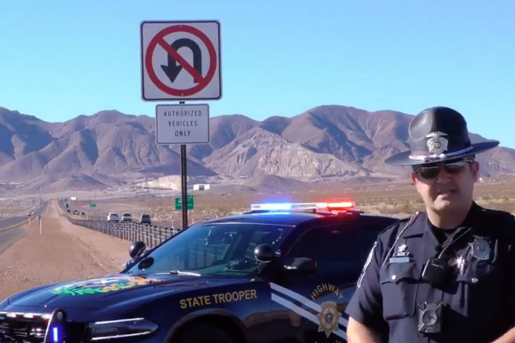 Screenshot/Nevada Highway Patrol/Facebook In the video, Highway Patrol spokesman Travis Smaka talks about emergency lighting on vehicles before a shout is heard off-camera.