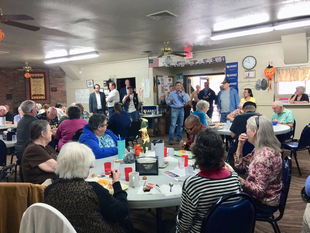 Robin Hebrock/Pahrump Valley Times Nevada Attorney General Adam Laxalt spoke to a large group of Pahrump residents on Monday, October 22, striving to raise as much support as possible before the 2 ...