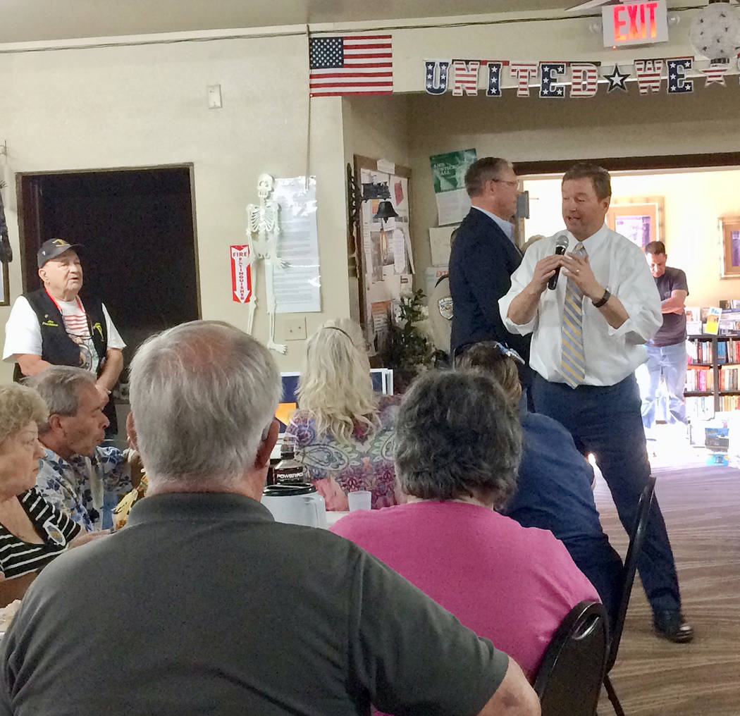 Robin Hebrock/Pahrump Valley Times U.S. Senator Dean Heller, R-NV, is hoping to earn another term, stopping in at the Pahrump Senior Center to encourage voters to cast their ballots in his favor t ...