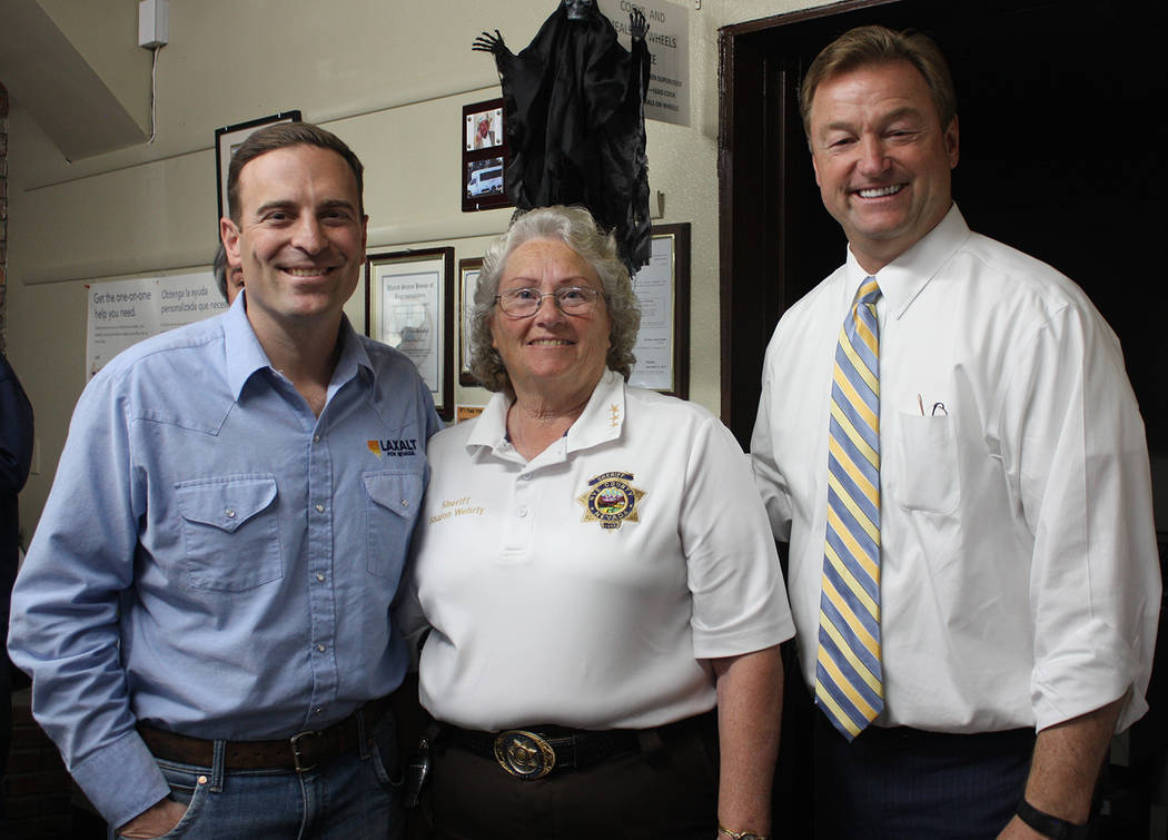 Robin Hebrock/Pahrump Valley Times From left to right are Nevada Attorney General and Republican gubernatorial candidate Adam Laxalt, Sharon Wehrly,incumbent in the race for Nye County Sheriff, an ...