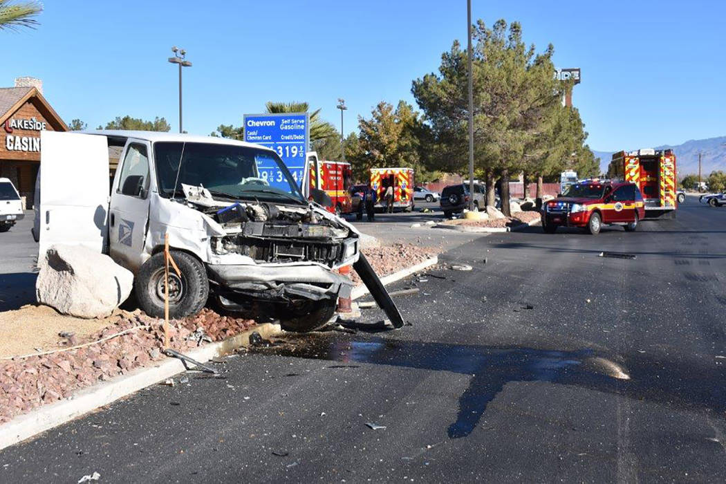 Special to the Pahrump Valley Times A two-vehicle collision involving a postal van sent both drivers to the hospital, just before 9 a.m. on Friday Oct. 20 at the intersection of Thousandaire Boule ...