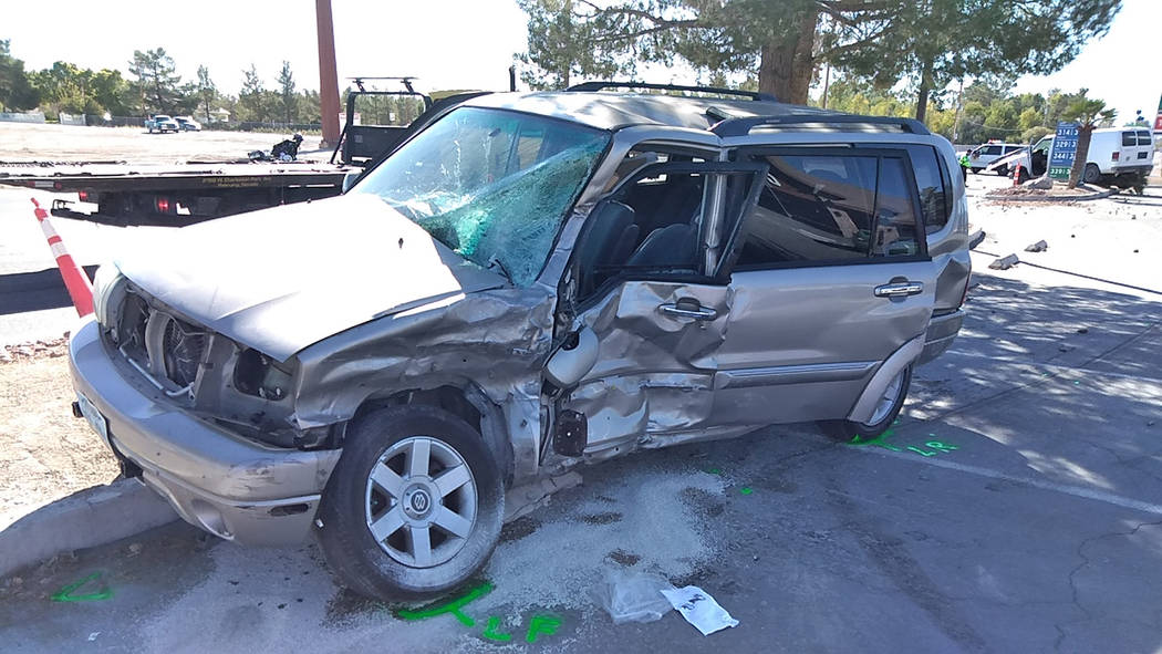 Selwyn Harris/Pahrump Valley Times The driver of this SUV was flown to UMC Trauma in Las Vegas due to the severity of his injuries. The high speed impact of the crash created a roughly 25 yard sep ...
