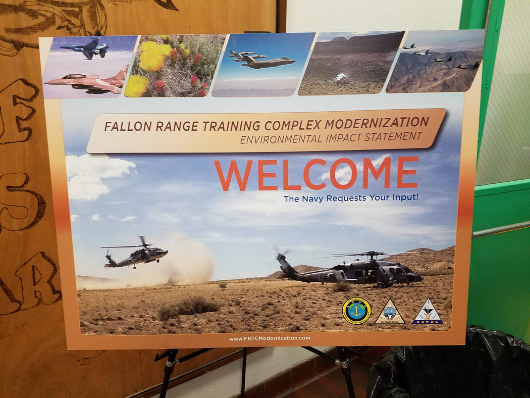 An informational graphic is displayed in Gabbs on Oct. 7, 2016 for a public meeting on the proposed expansion of the Navy's Fallon Range Training Complex, which would include Nye County. As part ...