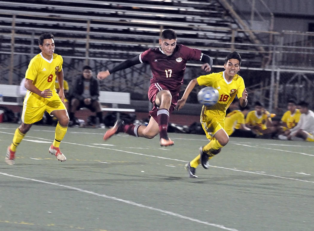Horace Langford Jr./Pahrump Valley Times Pahrump Valley senior Jose Chavez scored his 31st and 32nd goals of the season as the Trojans defeated Del Sol 2-1 on Thursday night in Pahrump.