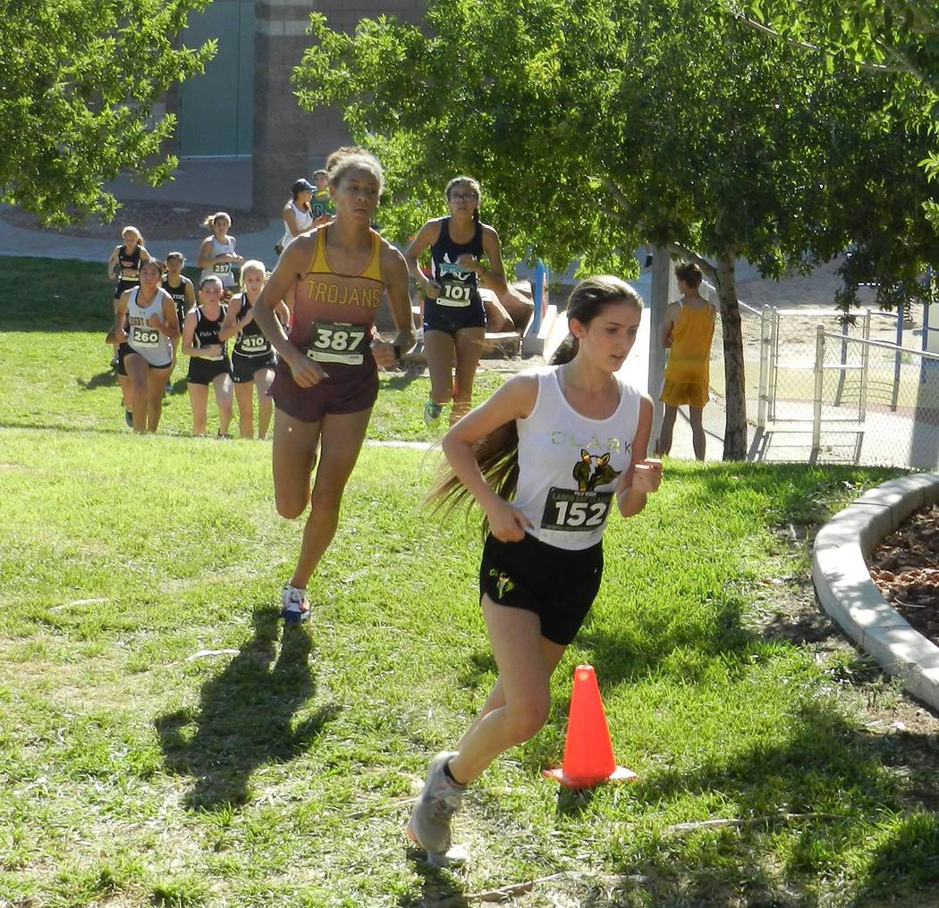 Tammi Odegard/Special to the Pahrump Valley Times Junior Diamond Sonerholm (387) finished fifth Saturday to lead Pahrump Valley cross country runners at the Class 3A Southern Regional Championship ...
