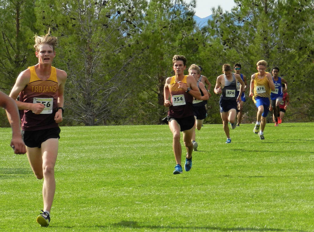 Tammi Odegard/Special to the Pahrump Valley Times Pahrump Valley's Grant Odegard, left, and Jacob Cipollini approach the finish line during the Sunset League Championship on Oct. 13 at Veterans Me ...