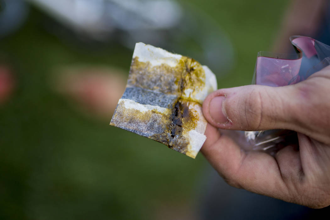 Paper used to smoke marijuana is held at Commons Park in Denver Colorado, Wednesday, Aug. 31, 2016. Elizabeth Page Brumley/Las Vegas Review-Journal Follow @ELIPAGEPHOTO