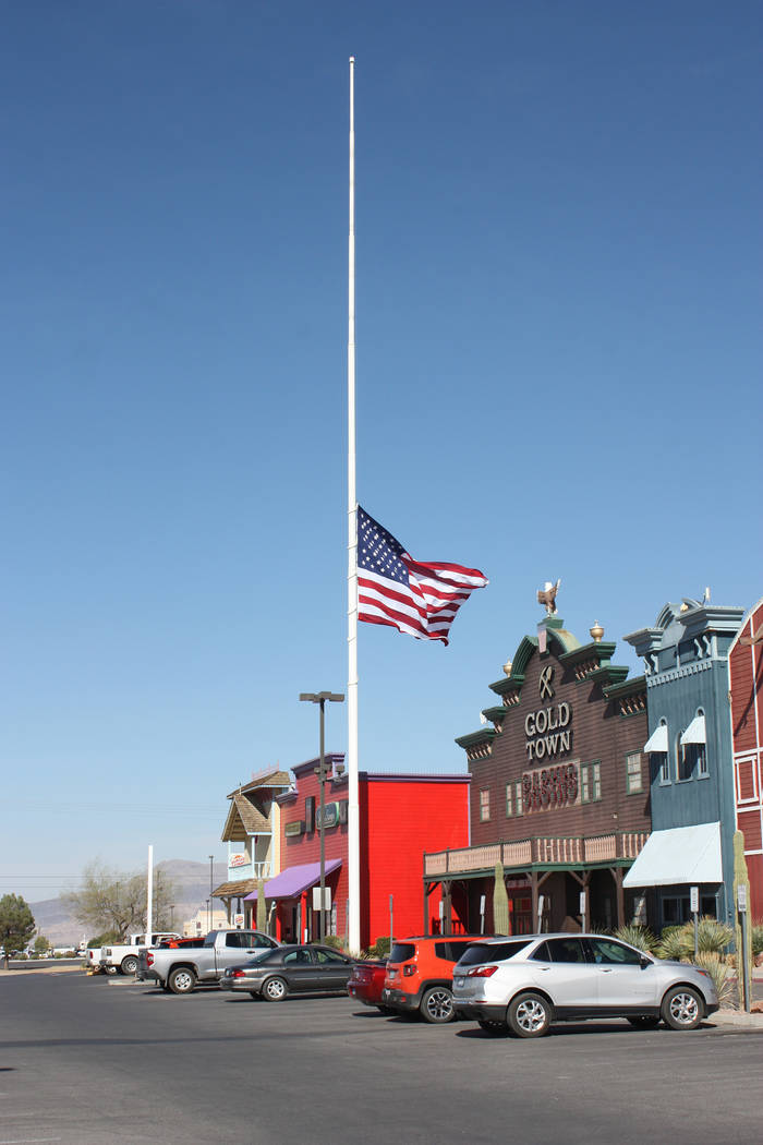 Robin Hebrock/Pahrump Valley Times Flags at federal and state locations are not the only to be flown at half-staff, with various businesses around Pahrump also lowering their flags in remembrance ...