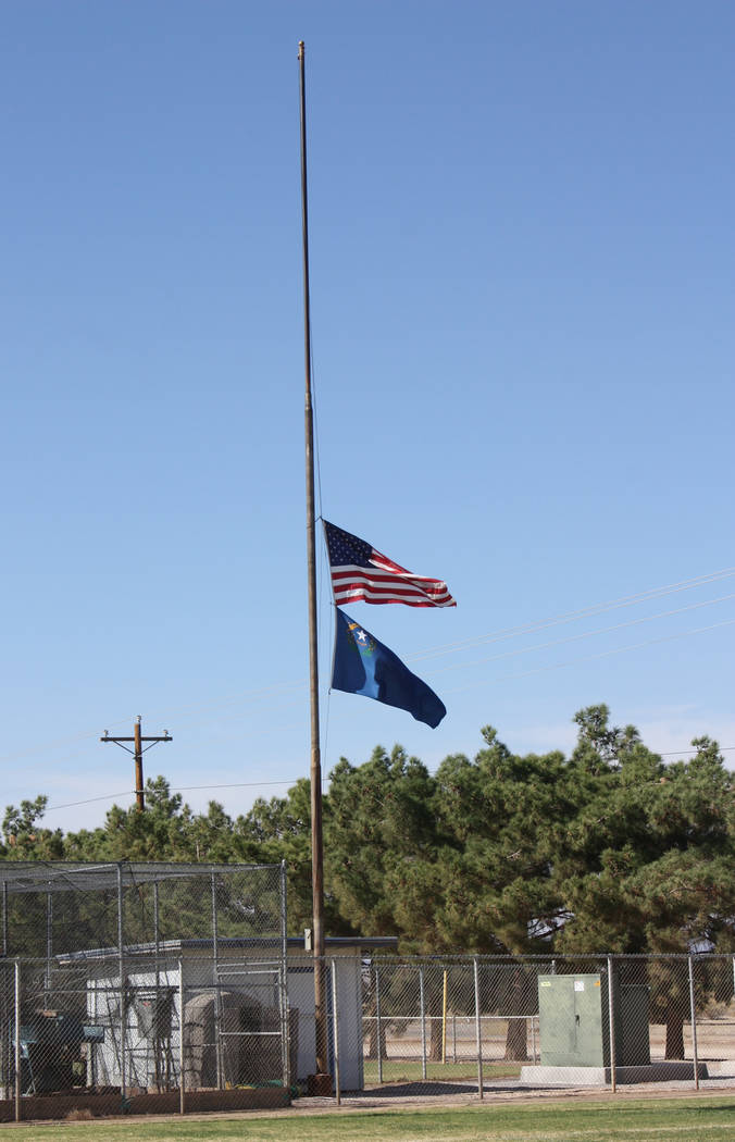 Robin Hebrock/Pahrump Valley Times Both the U.S. Flag and the Nevada state flag are posted at half-staff at all Nye County and Town of Pahrump buildings and grounds, including Ian Deutch Memorial ...