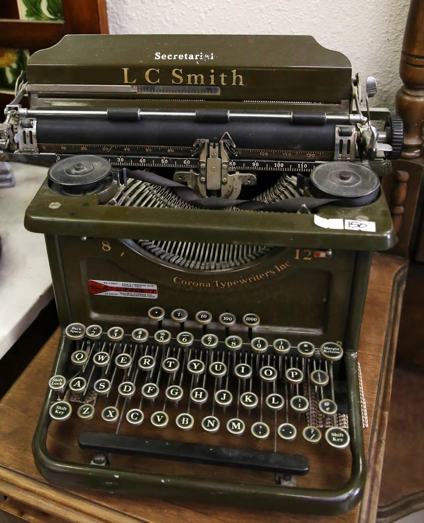 Bizuayehu Tesfaye/Las Vegas Review-Journal Vintage typewriter is displayed at Not Just Antiques Mart on Wednesday, Oct. 24, 2018, in Las Vegas.