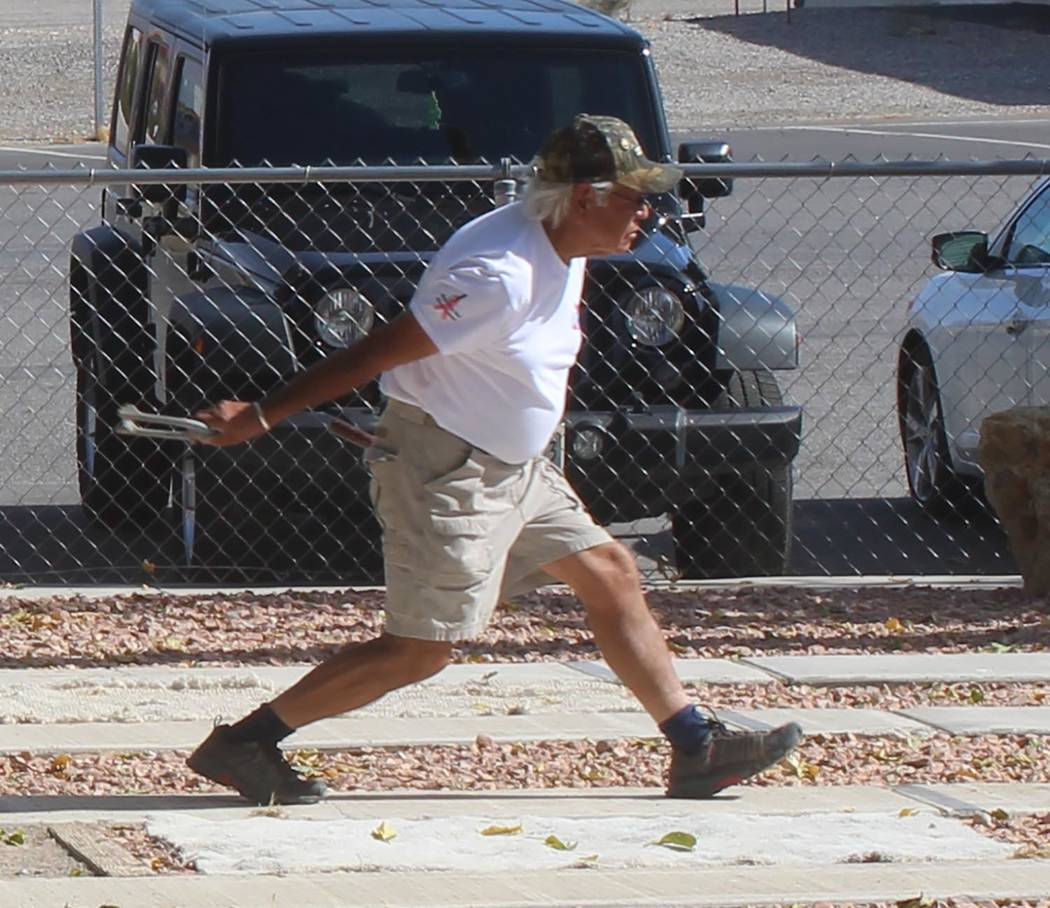 Tom Rysinski/Pahrump Valley Times Louis Escalante competes in the Pahrump Boo horseshoes tournament Saturday at Petrack Park. Escalante went 5-0-1 in Class A to be named tournament champion.