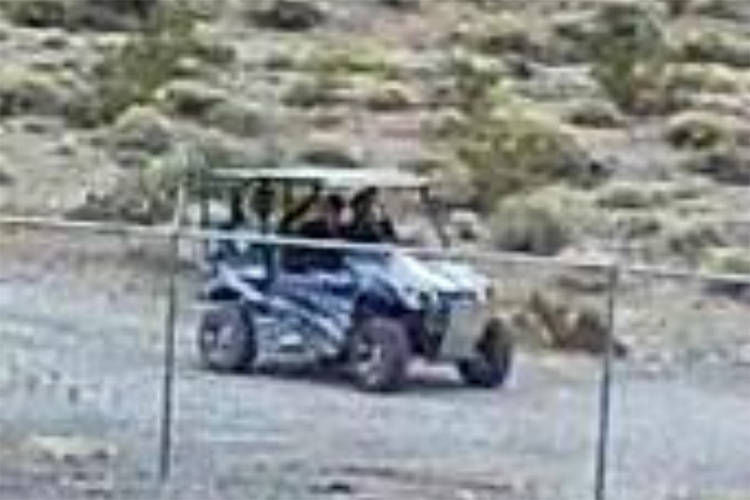 National Park Service A security camera at Devils Hole took this image of three men in an off-road vehicle who are beileved to have damaged the endangered fish habitat 90 miles west of Las Vegas o ...