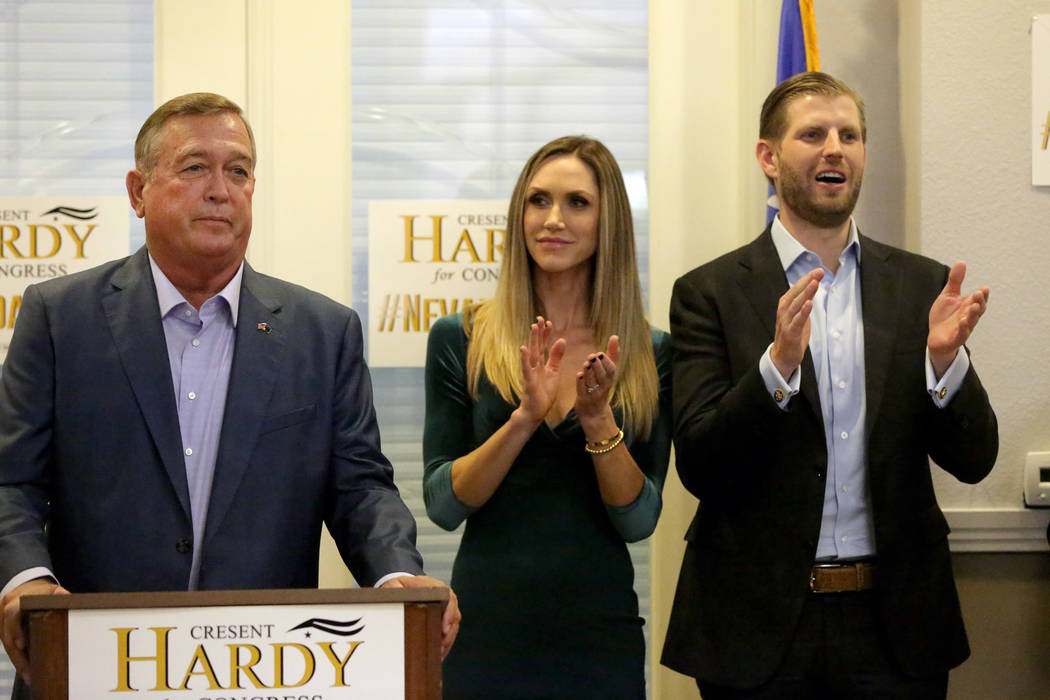 Michael Quine/Las Vegas Review-Journal Eric and Lara Trump show their support for U.S. Representative Cresent Hardy during a rally at the Nevada Republican Party's Summerlin office on Monday, Oc ...