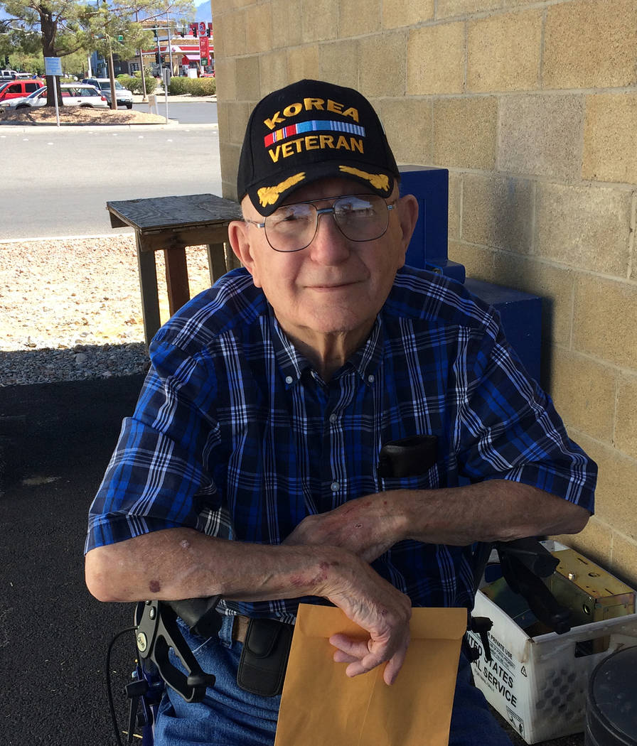 Robin Hebrock/Pahrump Valley Times Korean War veteran Leroy Hofer was one of 30 Nevadans selected to take part in the September, 2018 Southern Nevada Honor Flight.