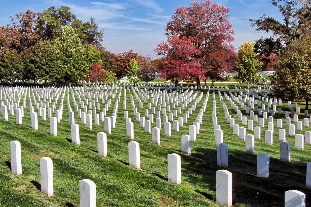 Thinkstock Symmetric rows of gravestones at Arlington National Cemetery in Arlington, Virginia. The military cemetery is the final resting place for war heroes and was one of the many locations So ...